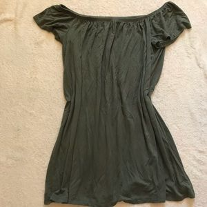 Army green off-the-shoulder dress